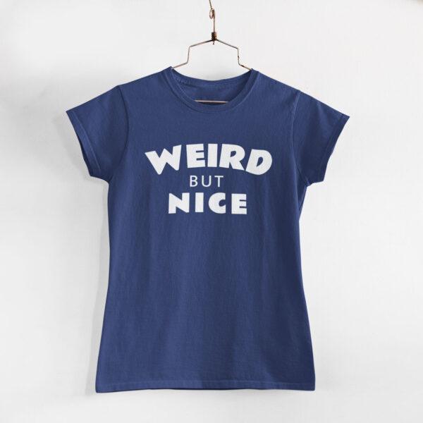Weird But Nice Women Navy Blue Round Neck T-Shirt