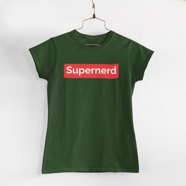 Supernerd Women Olive Green Round Neck T-Shirt