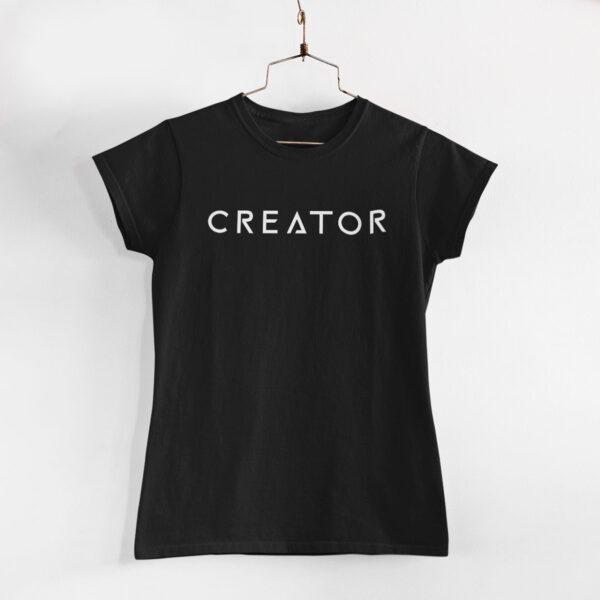 Creator Women Black Round Neck T-Shirt