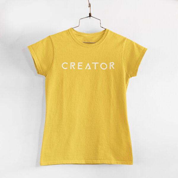 Creator Women Golden Yellow Round Neck T-Shirt