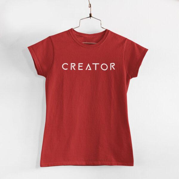 Creator Women Red Round Neck T-Shirt