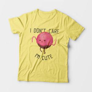 I'm Cute Kid's Unisex Butter Yellow Round Neck T-Shirt