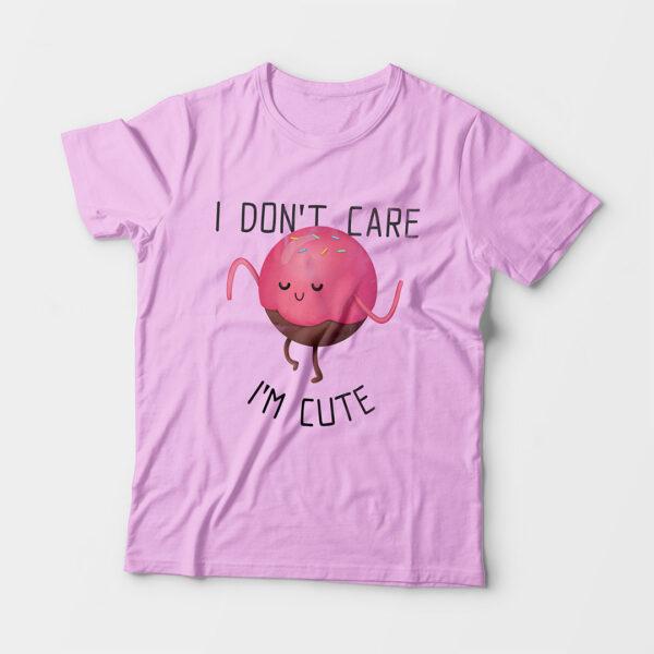I'm Cute Kid's Unisex Light Pink Round Neck T-Shirt