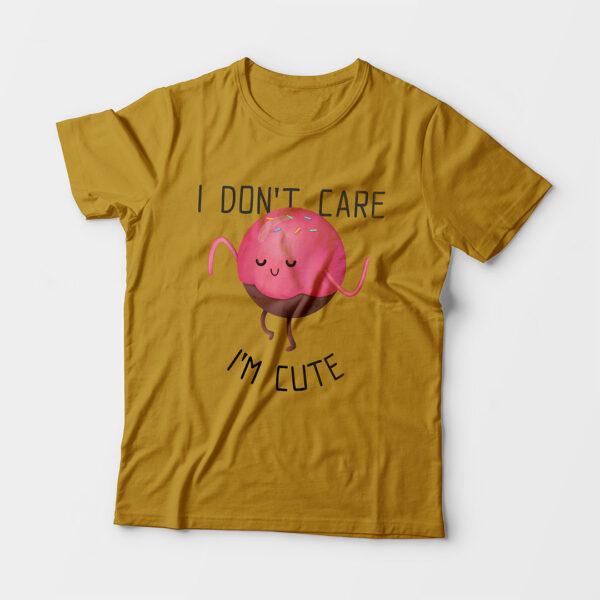I'm Cute Kid's Unisex Mustard Yellow Round Neck T-Shirt