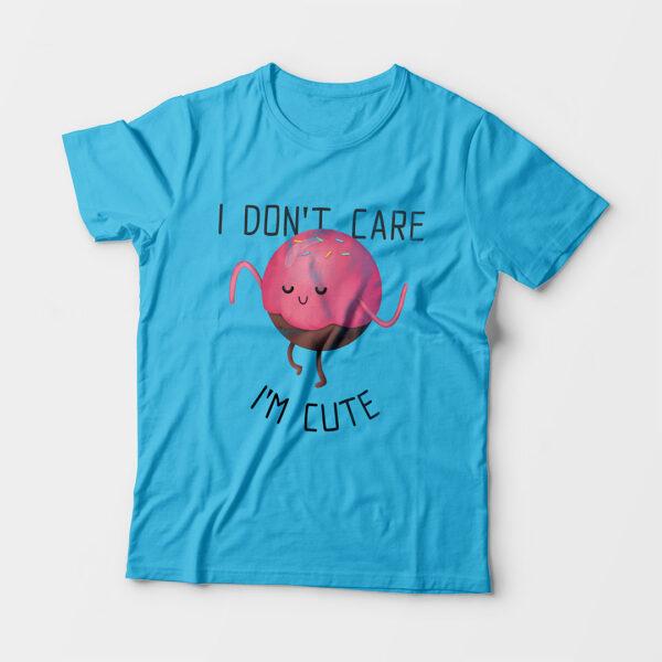 I'm Cute Kid's Unisex Sky Blue Round Neck T-Shirt