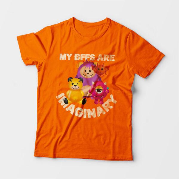 Imaginary Kid's Unisex Orange Round Neck T-Shirt