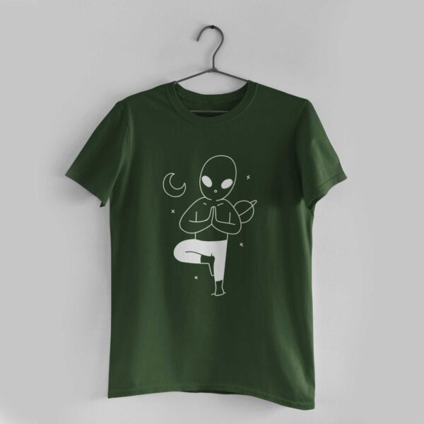 Yoga In Space Olive Green Round Neck T-Shirt
