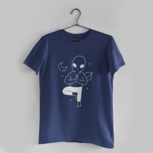 Yoga In Space Navy Blue Round Neck T-Shirt