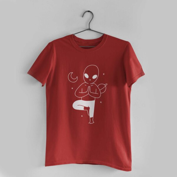 Yoga In Space Red Round Neck T-Shirt