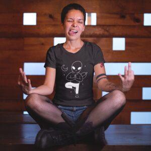 Yoga In Space Women Round Neck T-Shirt