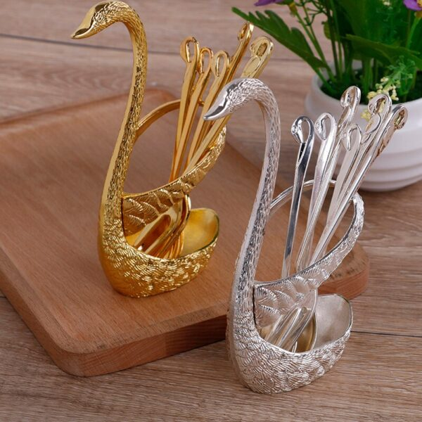6 Pcs Spoon With Decorative Swan Stand (Silver)