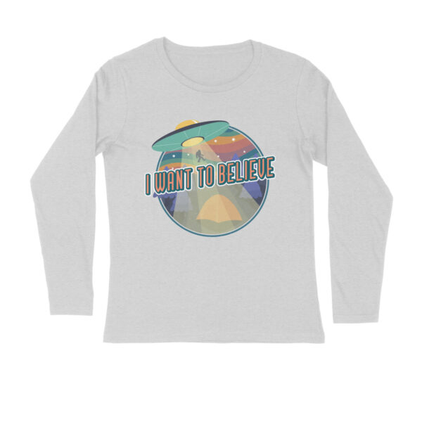 I Want To Believe Melange Grey Long Sleeve T-Shirt