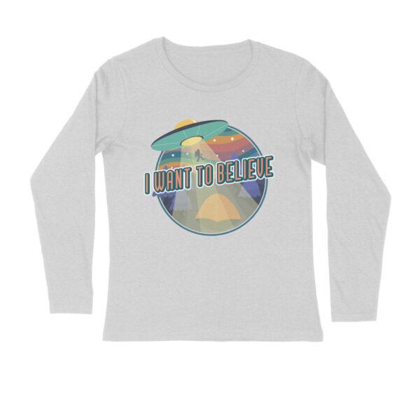 I Want To Believe Melange Grey Long Sleeve T-Shirt