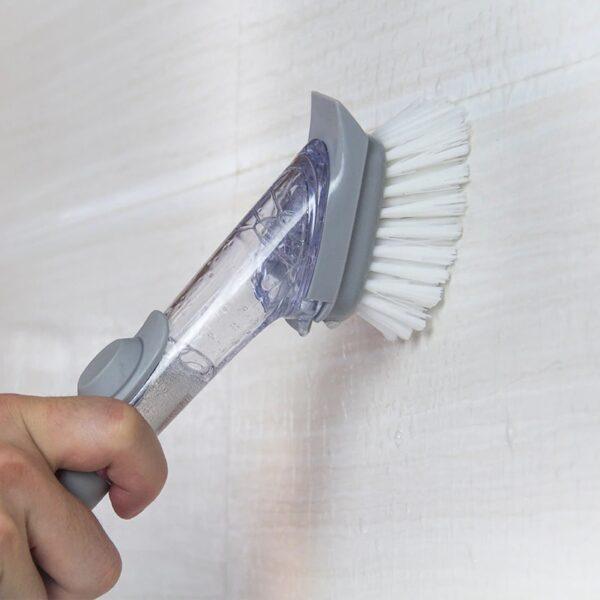 Liquid Dispenser Kitchen Cleaning Brush With Scrubber & Sponge