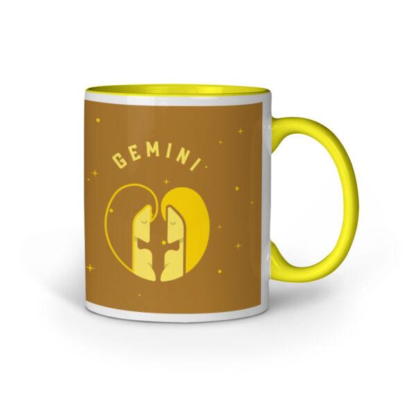 Gemini Yellow Inner Colored Ceramic Mug