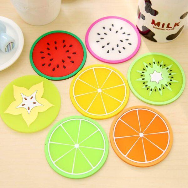 Silicone Coaster Fruit Design (Set Of 5)