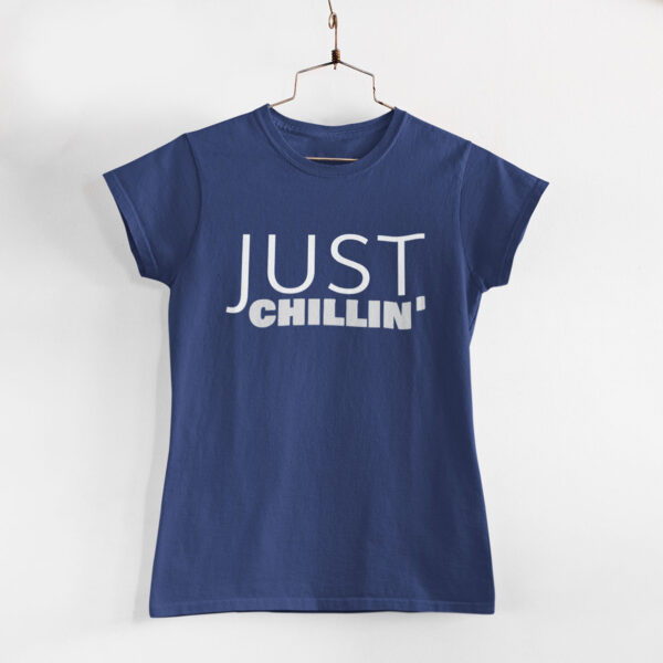 Just Chillin' Women Navy Blue Round Neck T-Shirt