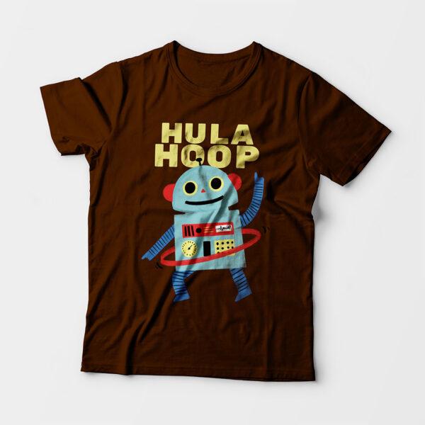 Hula Hoop Kid's Unisex Coffee Brown Round Neck T-Shirt