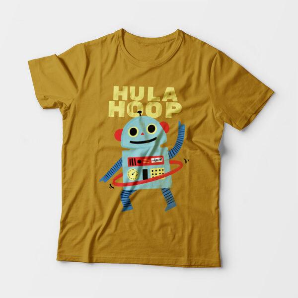 Hula Hoop Kid's Unisex Mustard Yellow Round Neck T-Shirt
