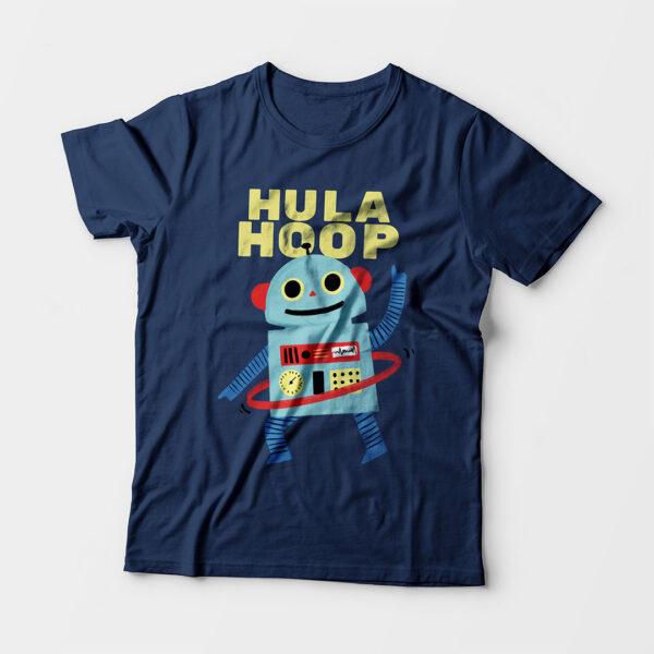 Hula Hoop Kid's Unisex Navy Blue Round Neck T-Shirt
