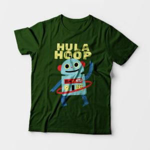 Hula Hoop Kid's Unisex Olive Green Round Neck T-Shirt