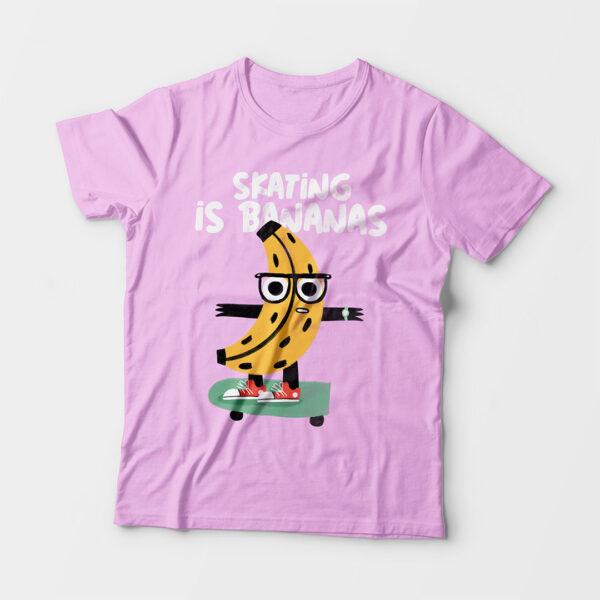 Skating Is Bananas Kid's Unisex Light Pink Round Neck T-Shirt