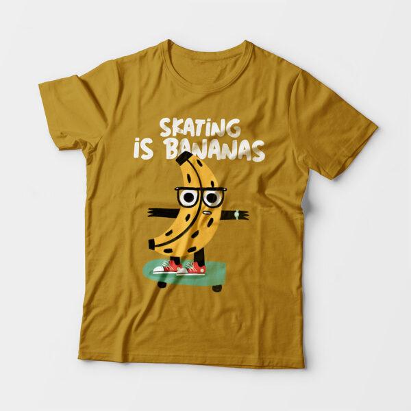 Skating Is Bananas Kid's Unisex Mustard Yellow Round Neck T-Shirt