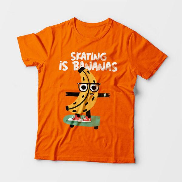 Skating Is Bananas Kid's Unisex Orange Round Neck T-Shirt