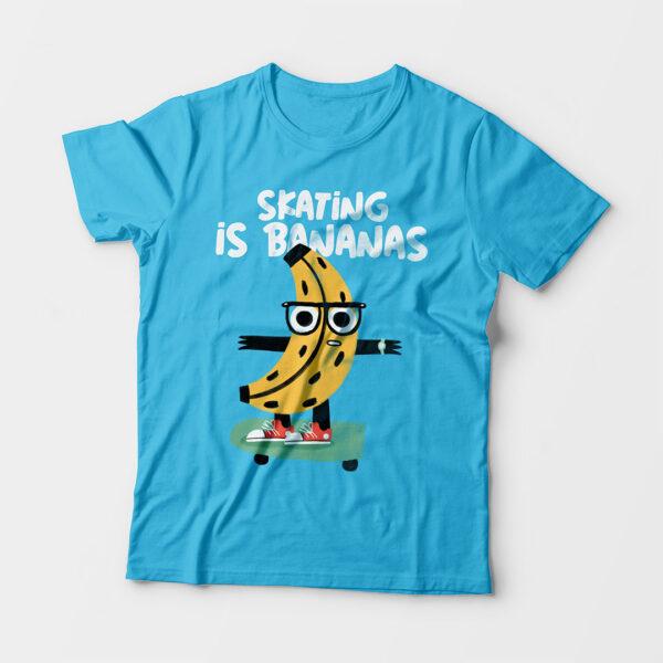 Skating Is Bananas Kid's Unisex Sky Blue Round Neck T-Shirt