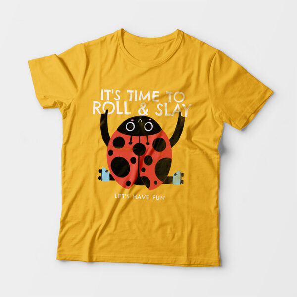 Roll & Slay Golden Yellow Kid's Unisex Round Neck T-Shirt