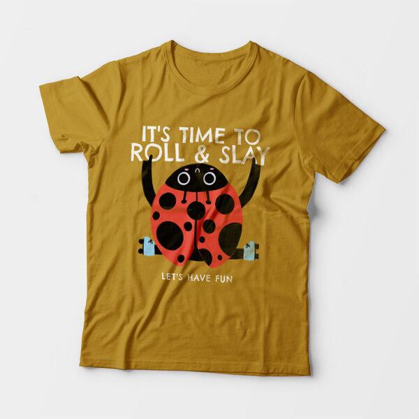Roll & Slay Mustard Yellow Kid's Unisex Round Neck T-Shirt