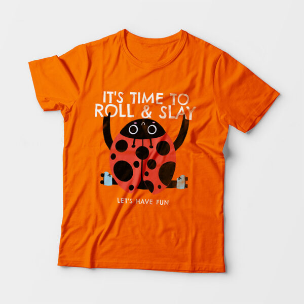 Roll & Slay Orange Kid's Unisex Round Neck T-Shirt