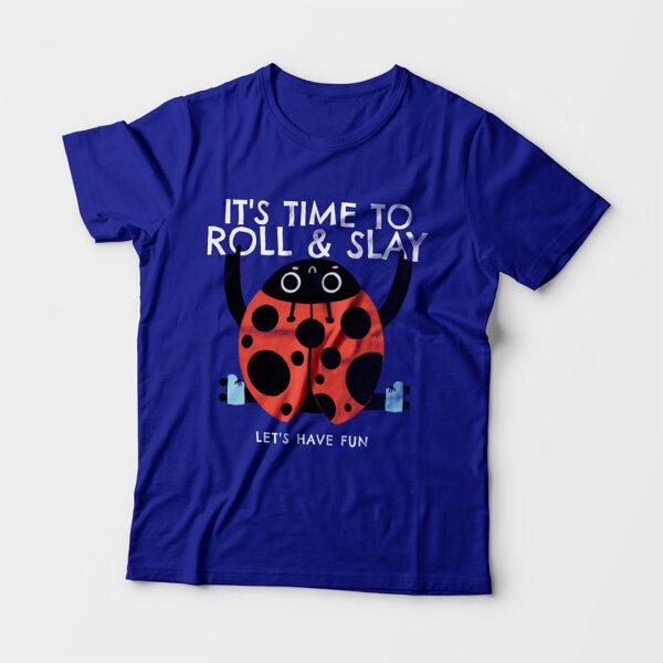 Roll & Slay Royal Blue Kid's Unisex Round Neck T-Shirt