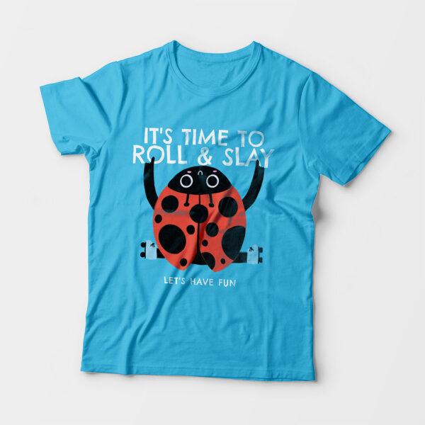 Roll & Slay Sky Blue Kid's Unisex Round Neck T-Shirt