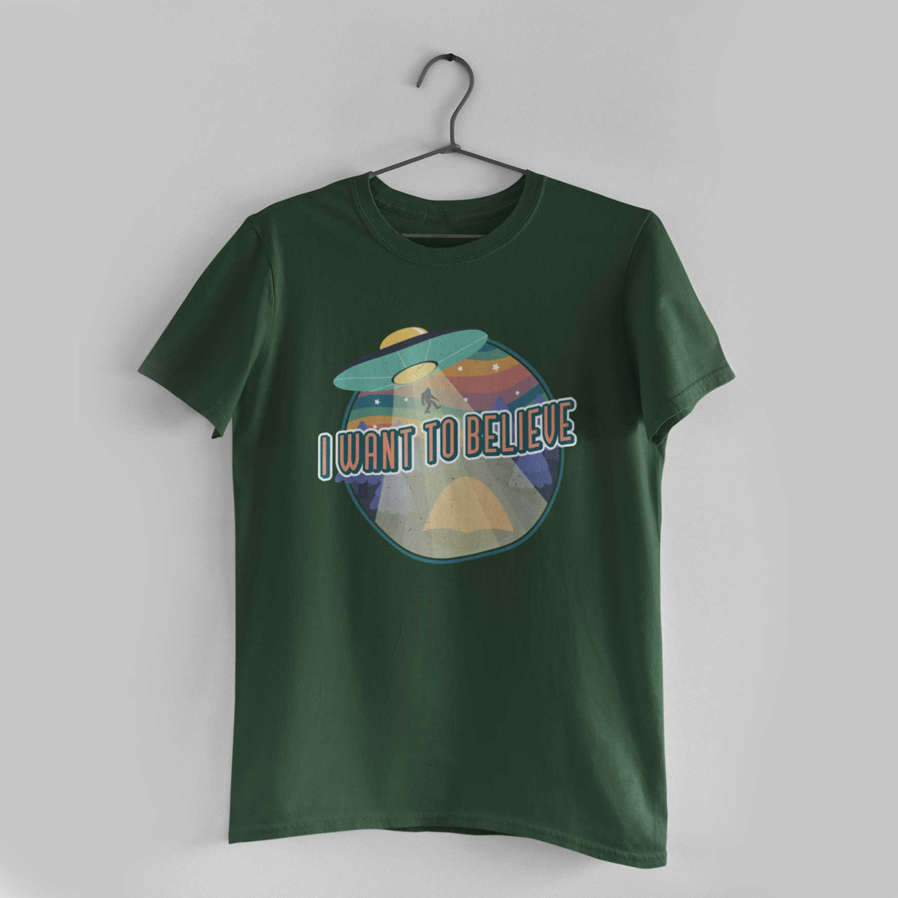 I Want To Believe Olive Green Round Neck T-Shirt