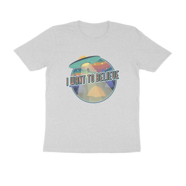 I Want To Believe Melange Grey Round Neck T-Shirt