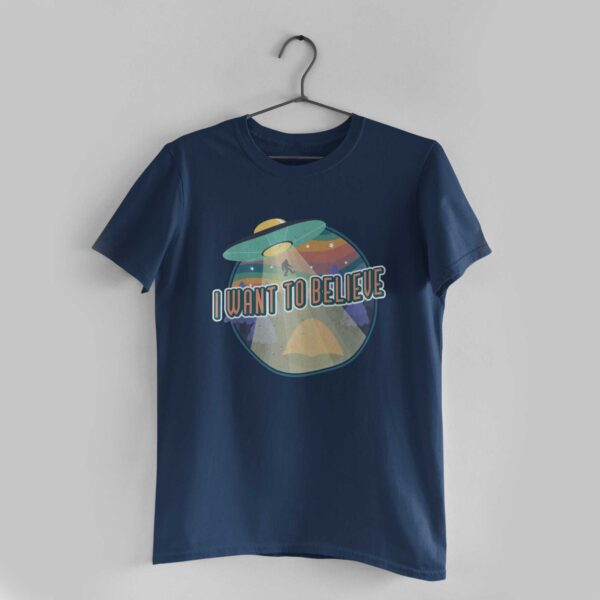 I Want To Believe Navy Blue Round Neck T-Shirt
