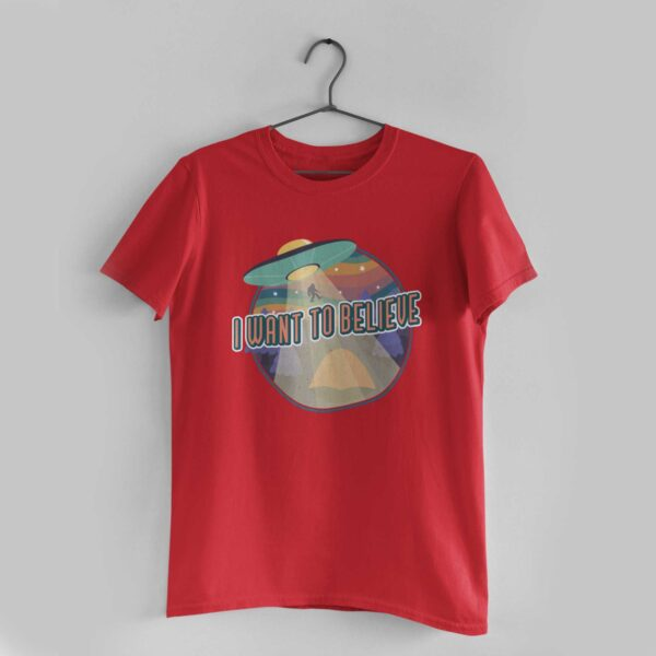 I Want To Believe Red Round Neck T-Shirt
