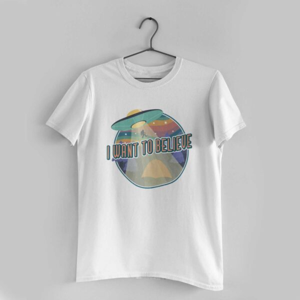 I Want To Believe White Round Neck T-Shirt