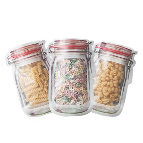 Transparent Jar Shaped Standup Pouch With Zipper (Pack Of 10)