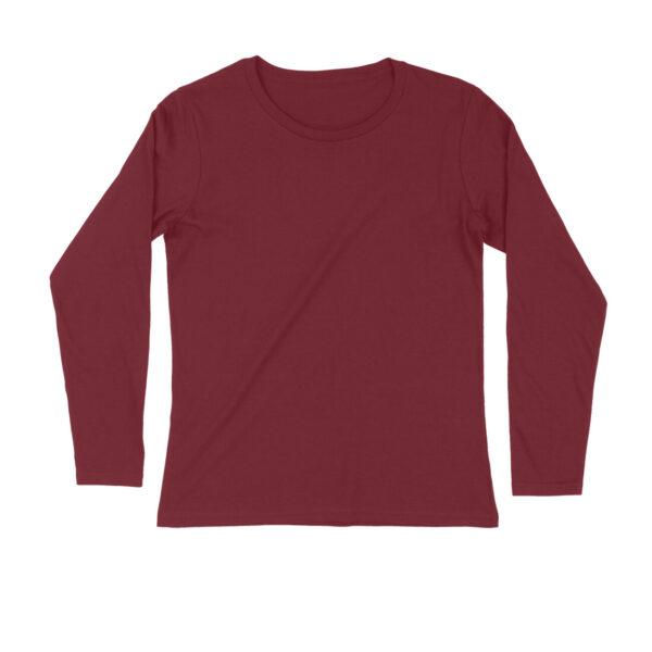 Maroon Plain Men Long Sleeve T-Shirt