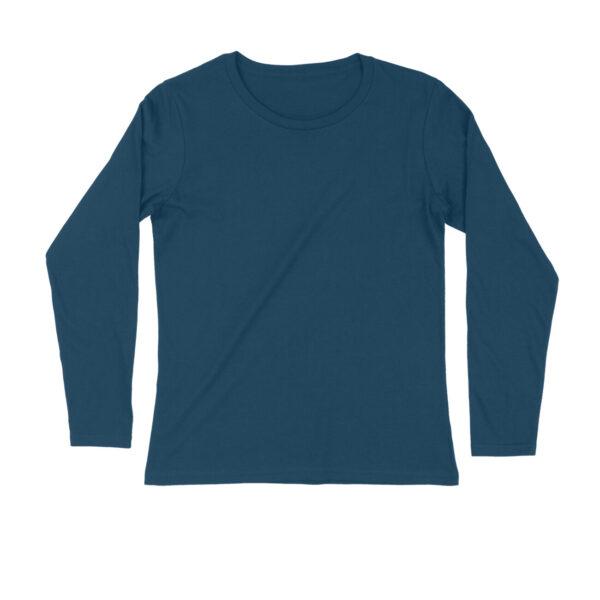 Navy Blue Plain Men Long Sleeve T-Shirt