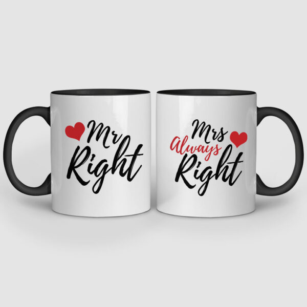Mr. And Mrs. Right Black Inner Colored Couple Mugs