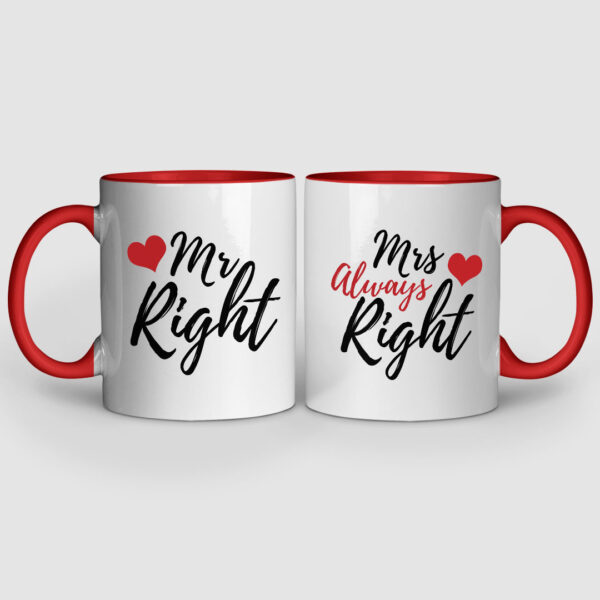 Mr. And Mrs. Right Red Inner Colored Couple Mugs