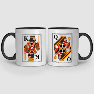 King And Queen Black Inner Colored Couple Mugs