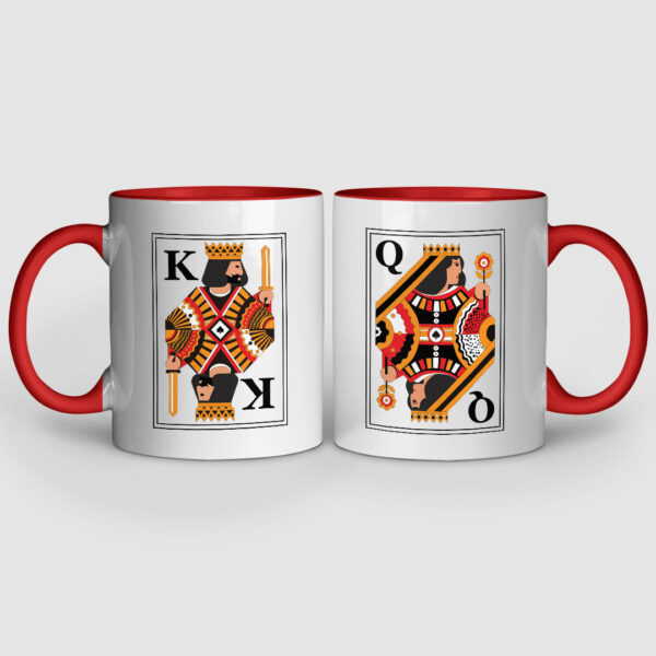 King And Queen Red Inner Colored Couple Mugs