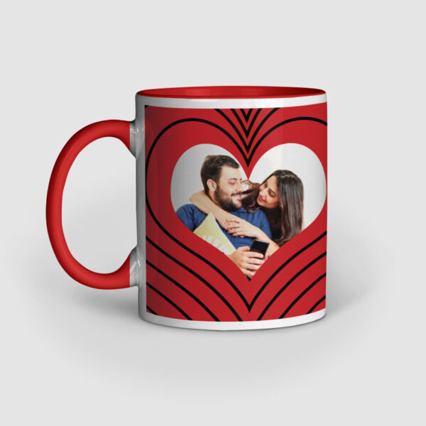 I Love You Personalized Red Inner Colored Ceramic Mug Left Side