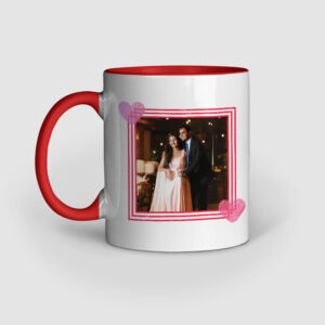 Happy Valentine's Day Personalized Red Inner Colored Ceramic Mug Left Side