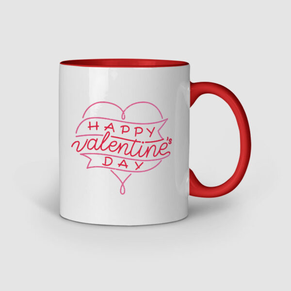 Happy Valentine's Day Personalized Red Inner Colored Ceramic Mug Right Side