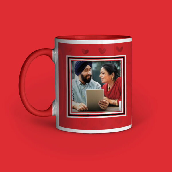 Happy Anniversary Personalized Red Inner Colored Ceramic Mug Left Side